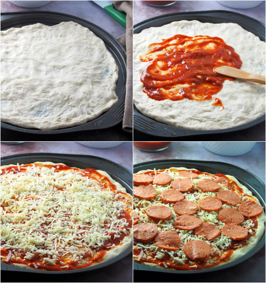 A collage showing the assembly of pepperoni pizza.