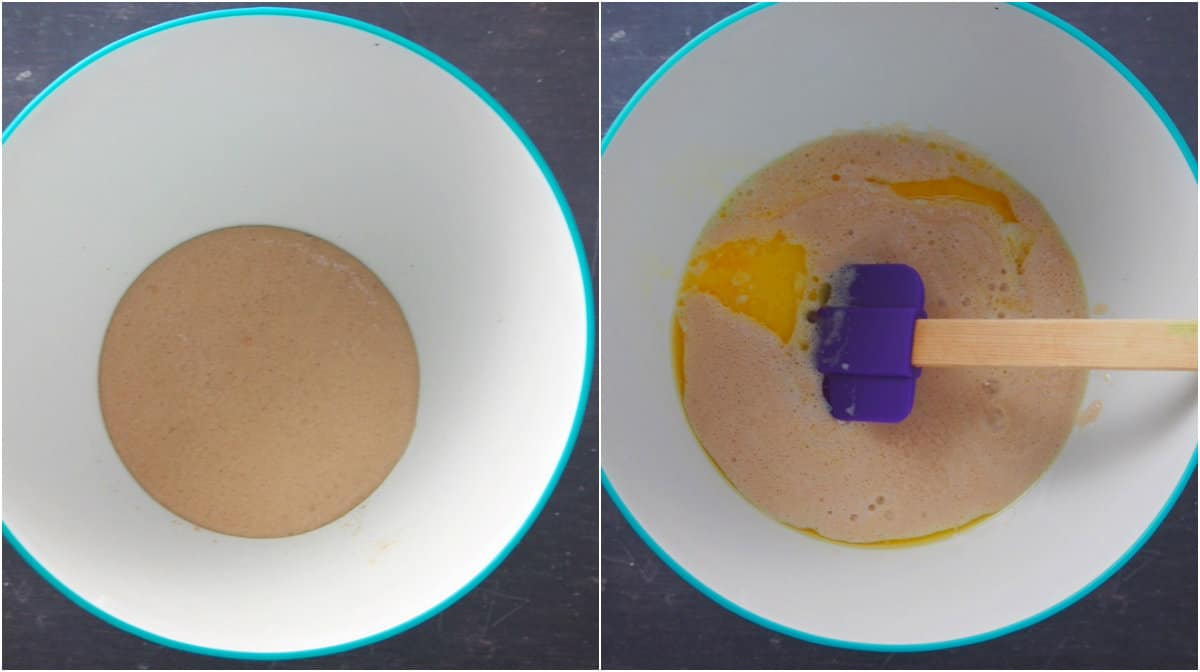 The foamy yeast and the addition of eggs, milk and sugar into it.