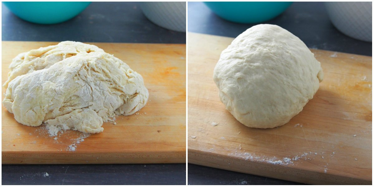 The bread dough before and after kneading.