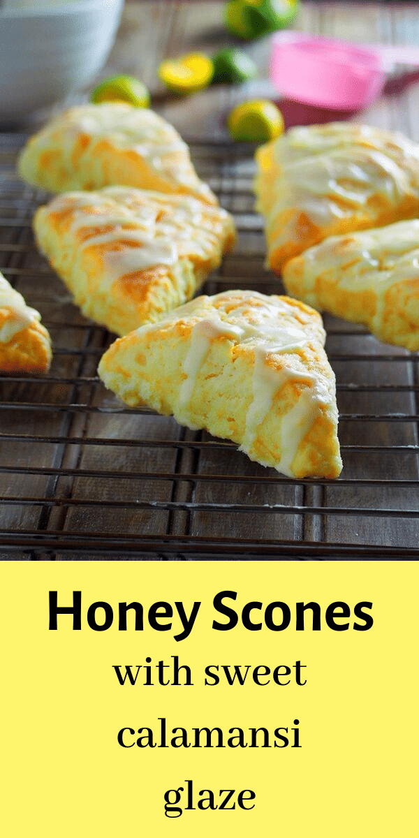 These honey scones are buttery and tender-crisp, and made even more special with a sweet calamansi glaze. #scones #pastries #biscuits