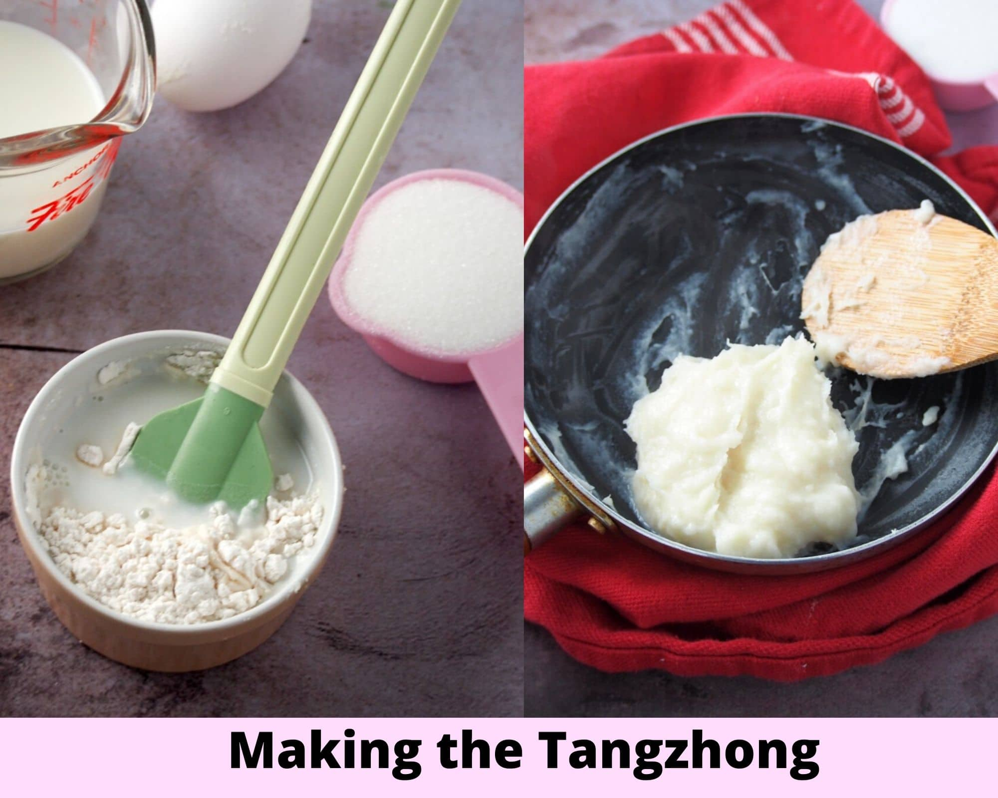 A collage showing how to make tangzhong.