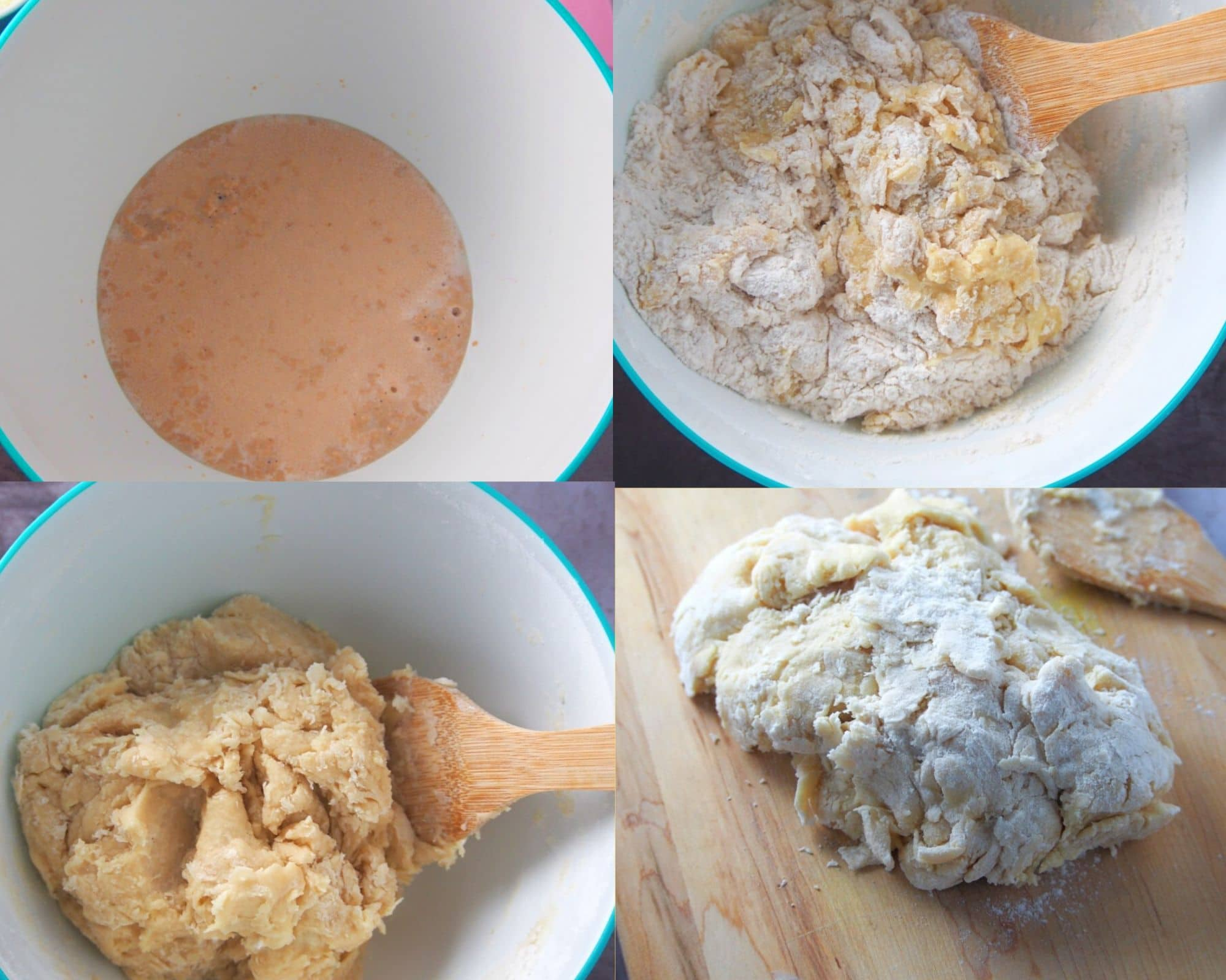 A collage showing the stages of mixing bread dough.