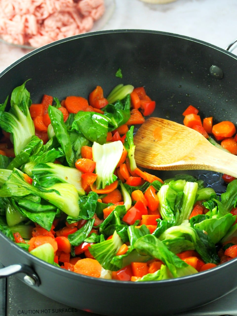 Cooking the veggies for the teriyaki turkey rice bowl.