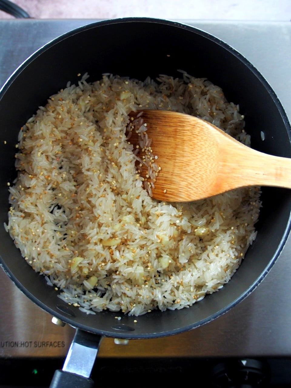 Cooking the rice for the teriyaki turkey rice bowl.