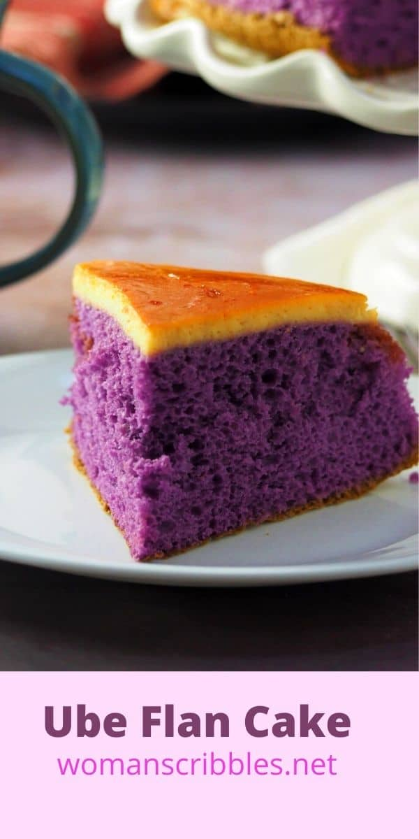 Soft and airy chiffon cake topped with a thin layer of milk custard flan, this Ube Flan cake is a delicious combination of two luscious desserts. #purpleyam #flan #ubecake
