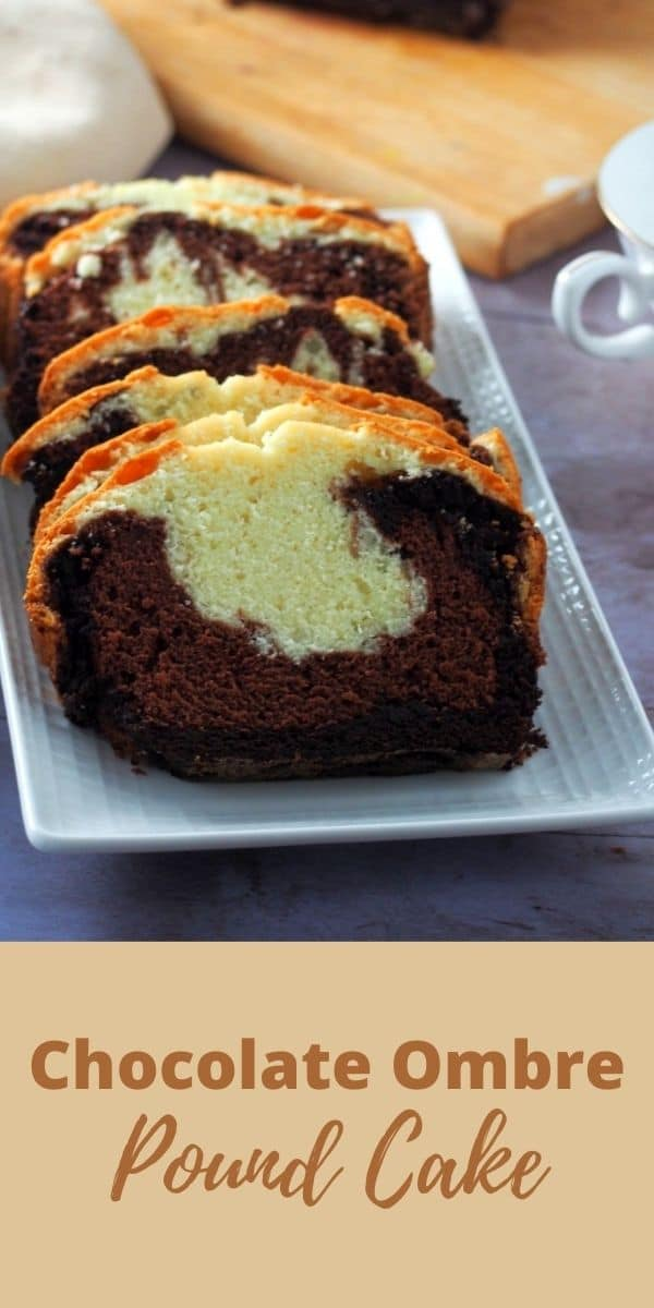This delicious Chocolate Ombre Pound Cake is the perfect treat with your cup of coffee. Rich but not too sweet, chocolatey but not overpowering. You have to bake this! #chocolatecake #poundcake #ombrecake