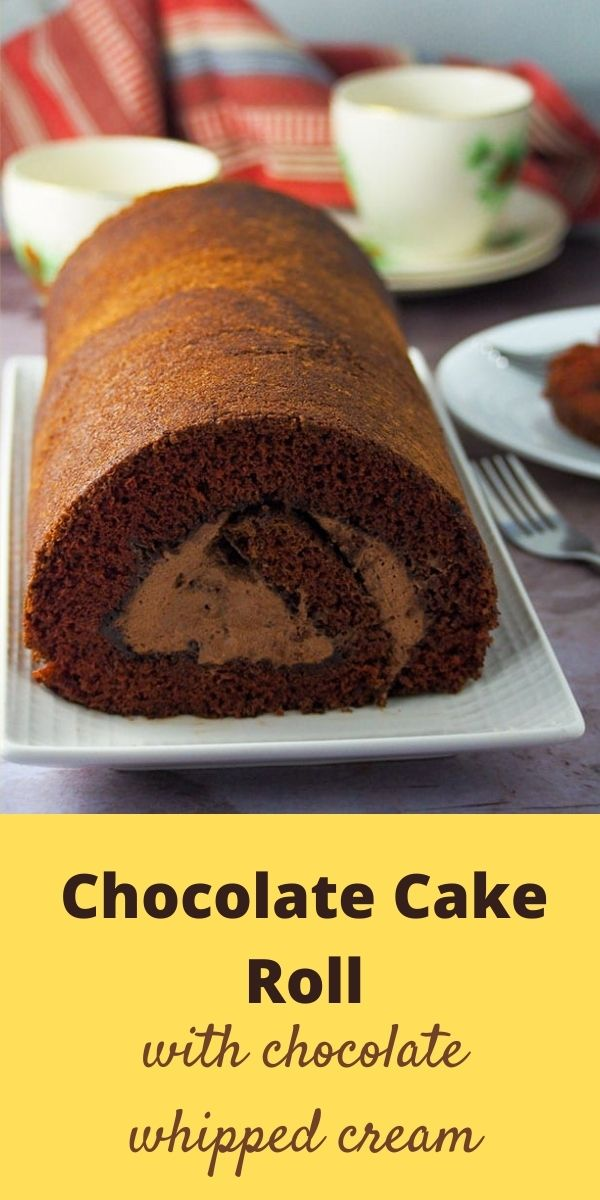 Whether for a special occasion or as a daily dessert, this Chocolate Cake Roll is a perfect and simple decadent treat! #chocolate #cakerolls #swissrolls