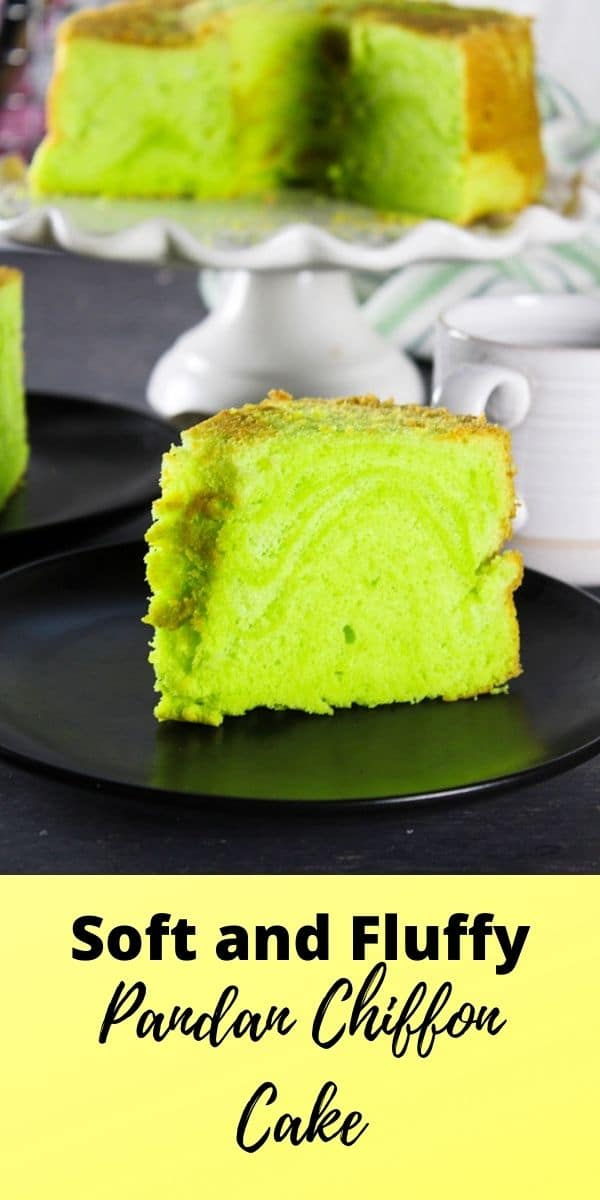 This Pandan Chiffon Cake is soft and fluffy with a delicate and airy texture that you will love. #pandan #chiffon #cakes