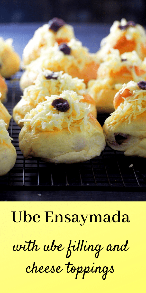 Soft, delicate and buttery ube ensaymada are filled with creamy ube and topped with lots of cheddar cheese. It is super good! #brioche #GoldilocksBakeshop #Filipinopastries