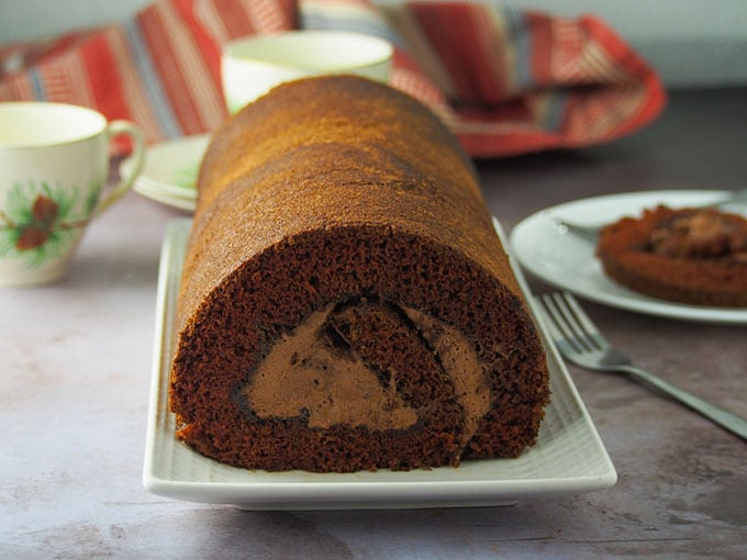 Landscape shot of chocolate cake roll.