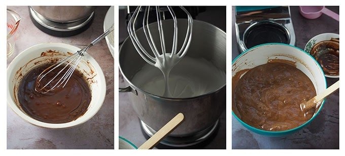 Making the batter for the chocolate chiffon.
