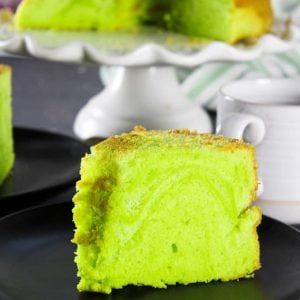 A slice of Pandan Chiffon cake on a plate.