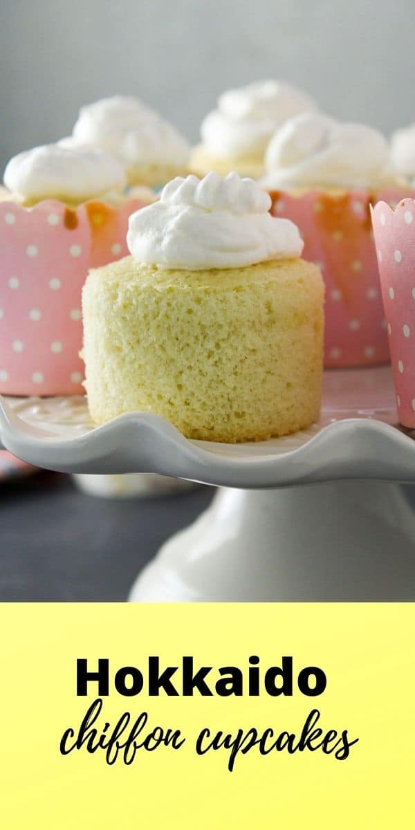 Here is a simple delight- soft chiffon cakes topped with sweet whipped cream. You will love these Hokkaido Cupcakes as little heavenly treats!
