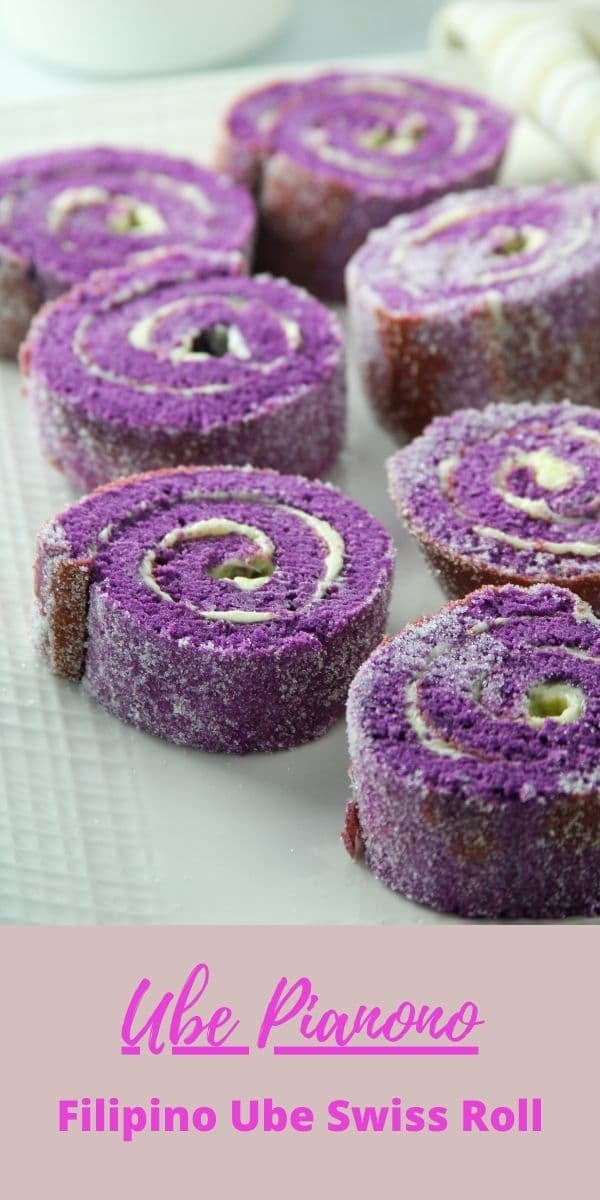 Enjoy this Filipino style swiss roll, Ube Pianono that are filled with softened butter, coated with sugar and cut into serving slices. #purple yam #bakery