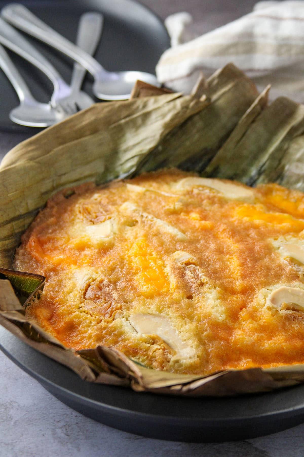 Bibingka in the pan, freshly baked.