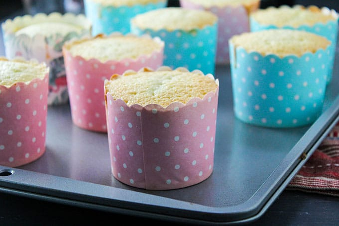 The baked Hokkaido cupcakes on the baking pan.