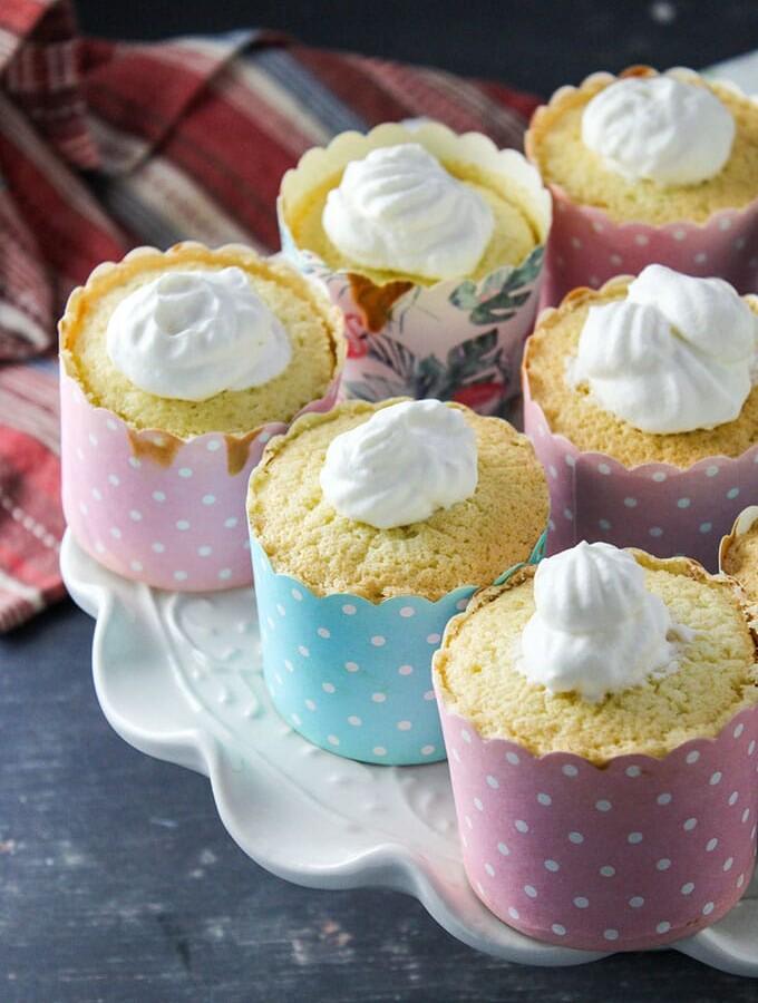 Hokkaido cupcakes on a cake stand.