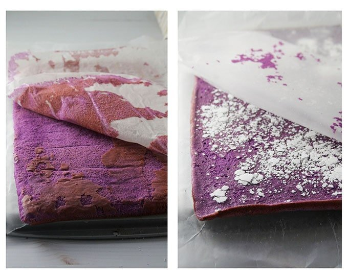 Peeling the parchment paper off the ube chiffon cake.