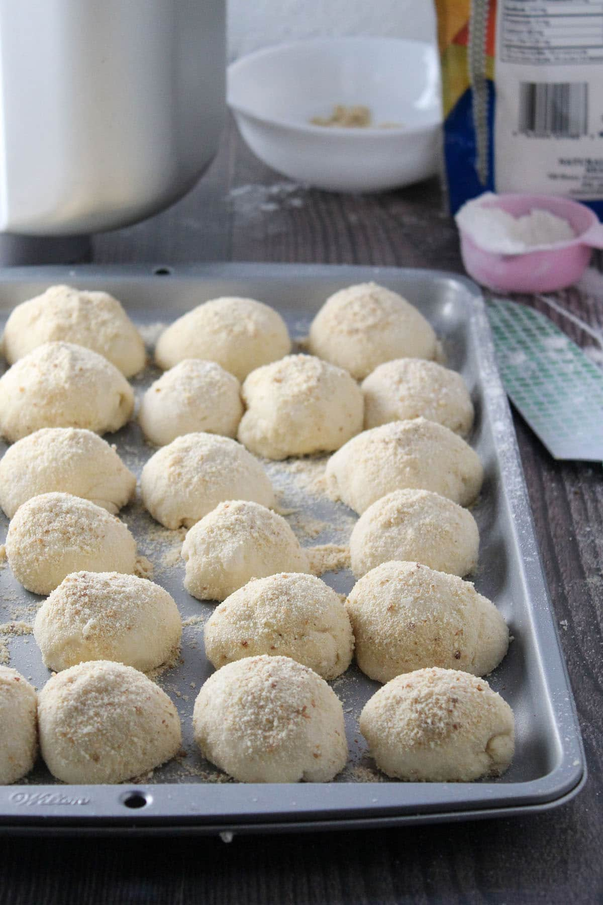 The shaped pandesal dough ready for second rise.