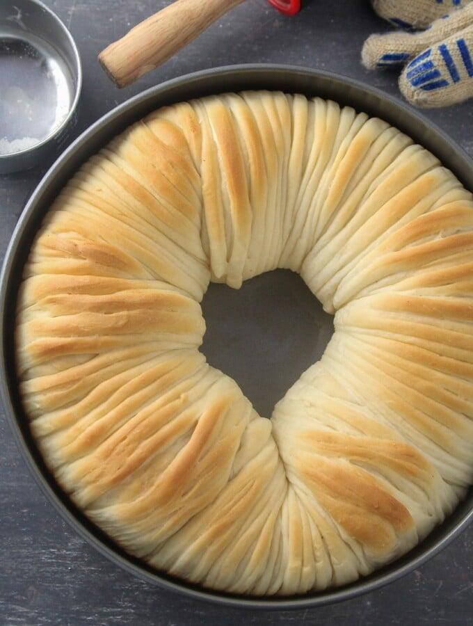 Top shot of Wool Roll Bread