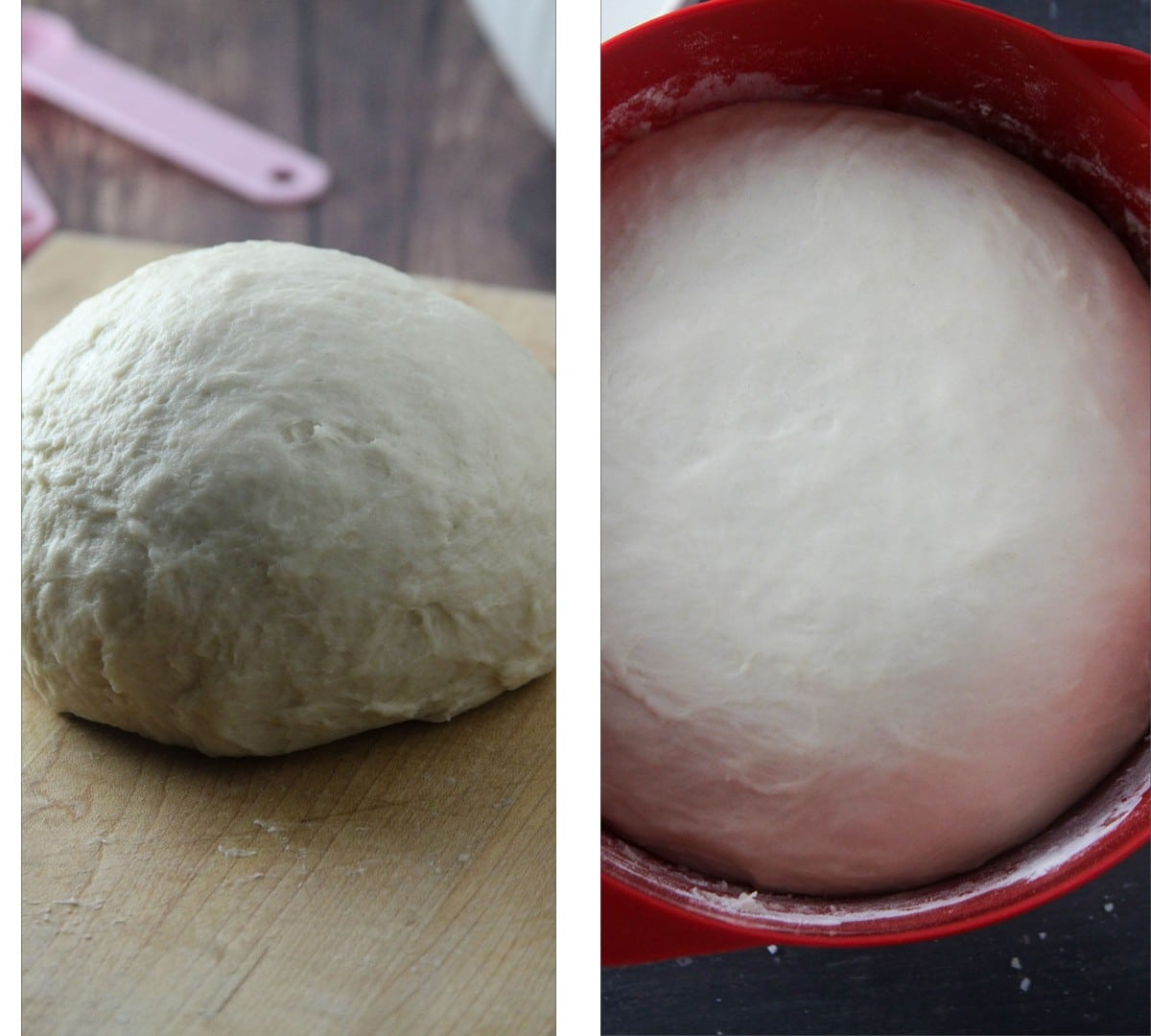 The kneaded dough, before and after rising.