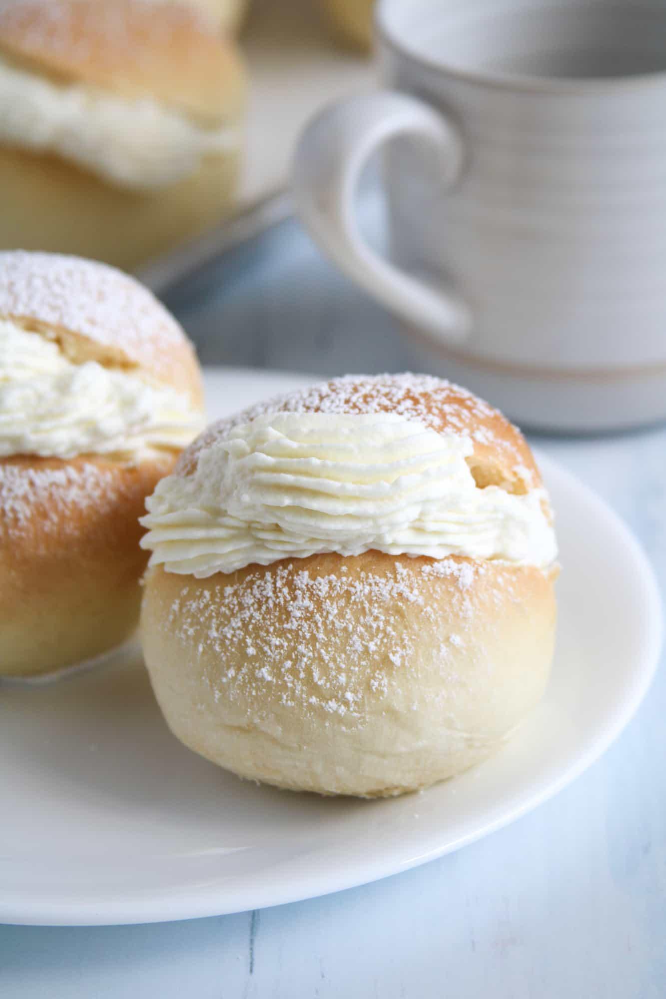 Close up of cream buns.