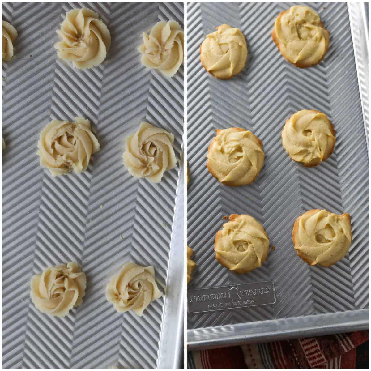 The butter cookies before and after baking.