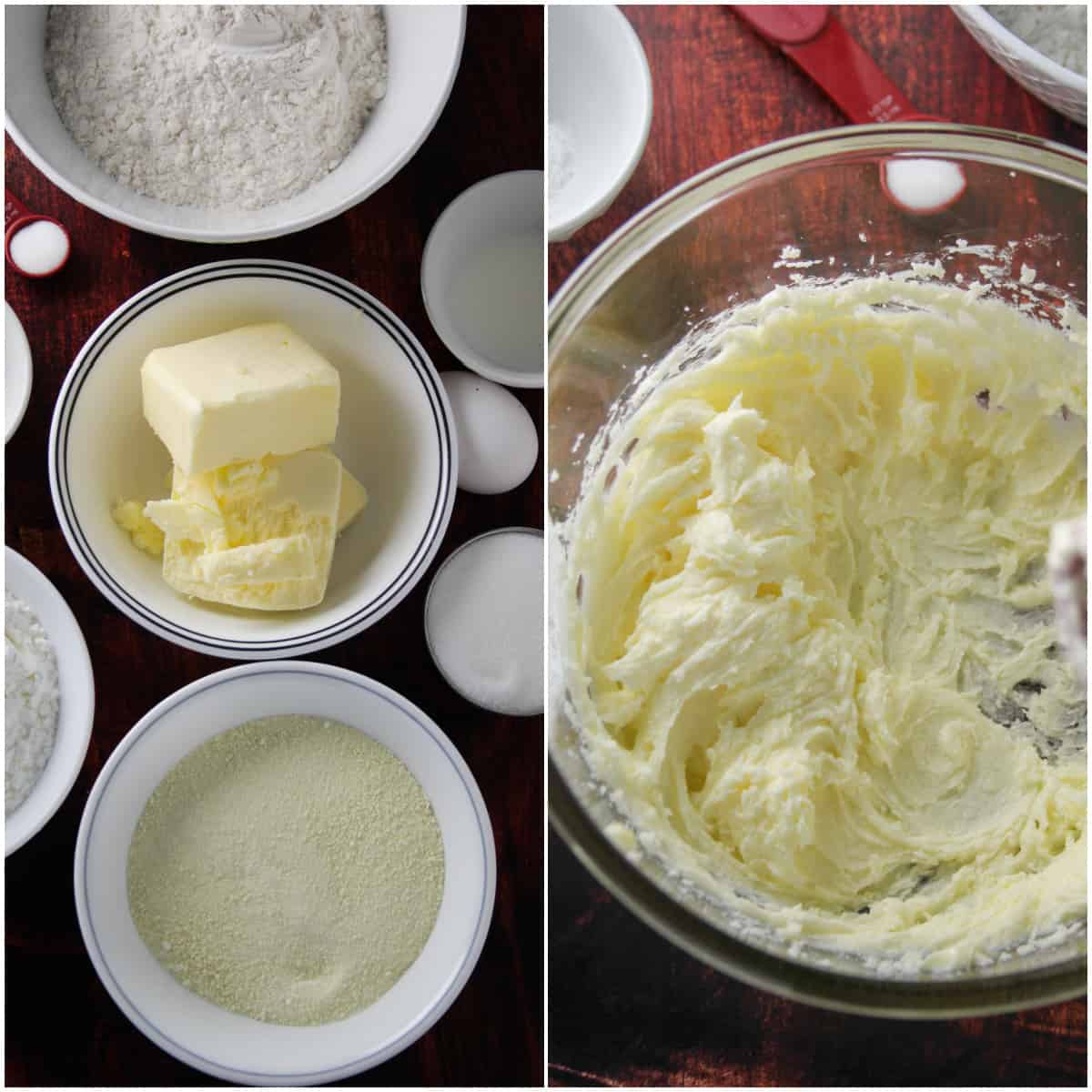 A collage showing the ingredients for butter cookies and the creaming of the butter and sugar.