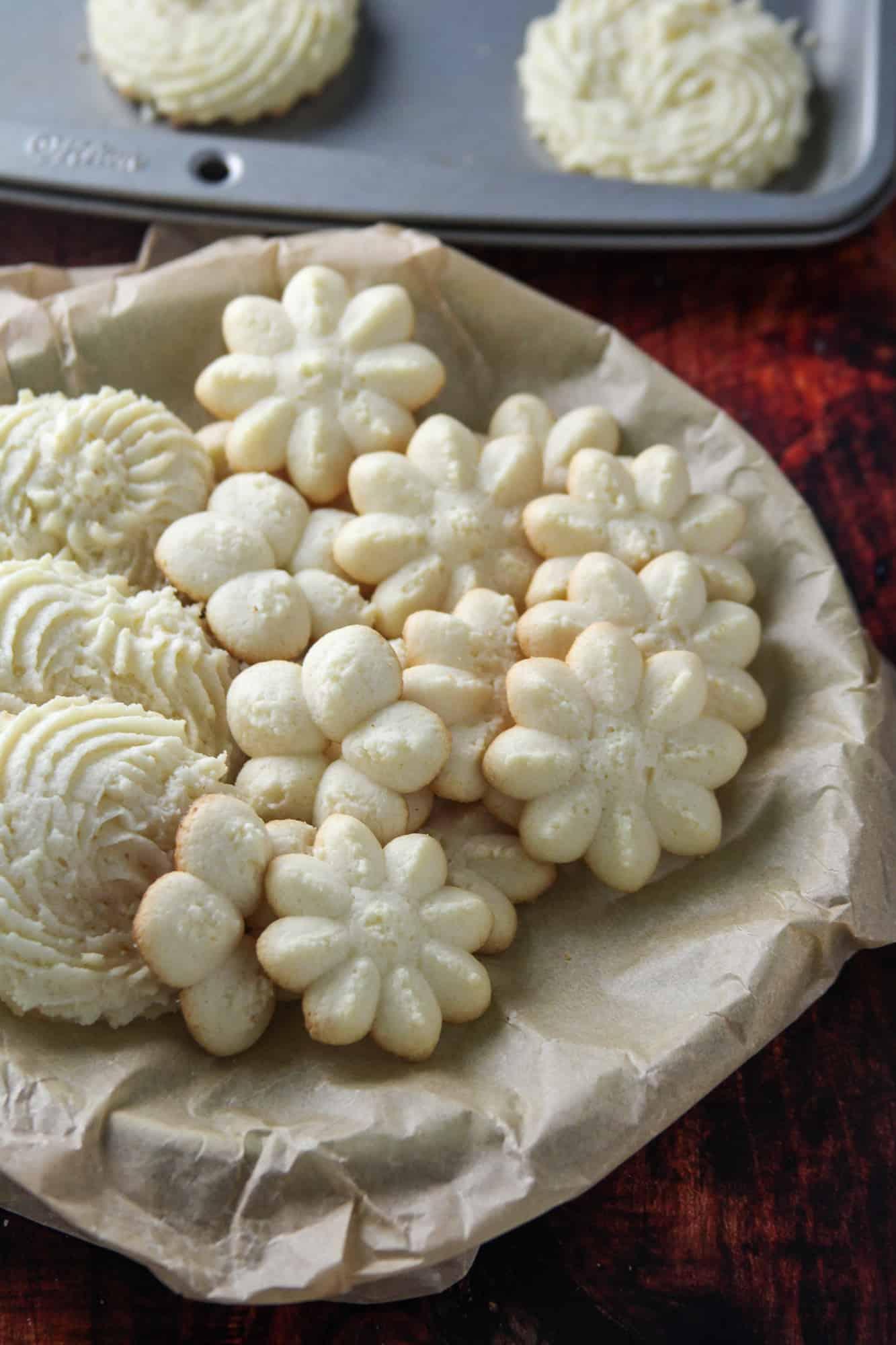 Assorted designs of butter cookies.