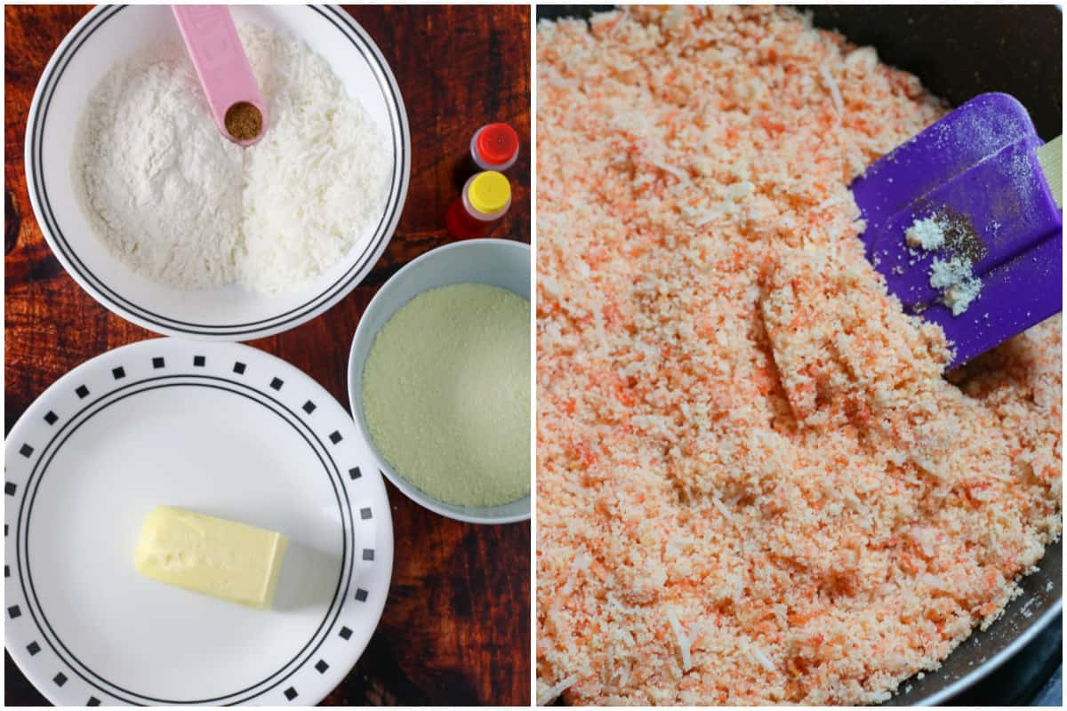 A collage showing how to make the choco butternut streusel.