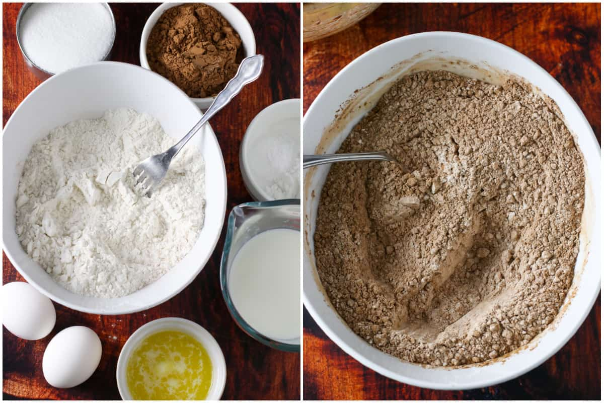 A collage showing the choco butternut ingredients on the left and mixing the dry ingredients on the right.